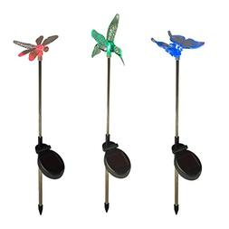 Color Changing LED Dragonfly, Butterfly & Hummingbird Solar