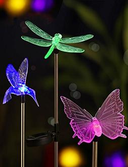 Bright Zeal  LED Color Changing Solar Stake Lights Outdoor -