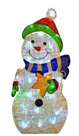Enchanted Forest Pre-Lit LED Twinkle Snowman with a Star Chr