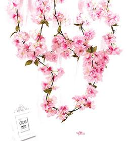 Charmly 2 Pcs Artificial Cherry Blossom Vine Faux Sakura Gar
