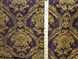 Chenille Renaissance damask Home Decor Upholstery, purple So