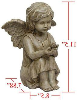 Cherub Angel Garden Statue 11.5 Inch Outdoor Cute Bird Home