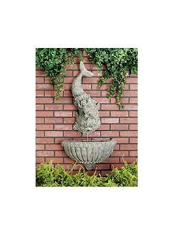 Cherub Dolphin Wall Fountain in Moss Finish - 2 Pc Set