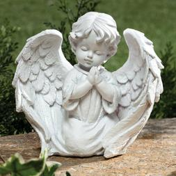 Cherub White Garden Memorial Statue Praying Angel Wings Whit
