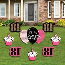 Chic 18th Birthday - Pink, Black and Gold - Yard Sign & Outd