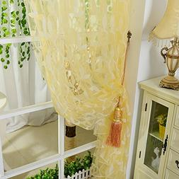 Daxin Chic Room Leaf Pattern Voile Window Curtain Sheer Pane