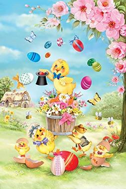 Chick Magic Easter Garden Flag Eggs Butterfly Spring Floral
