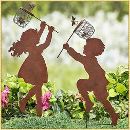 Children Boy or Girl Silhouette Chasing Insects Garden Yard