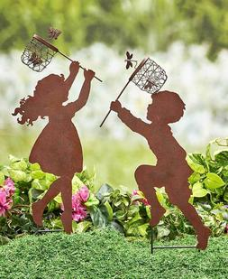 Children Silhouette Chasing Boy Girl Yard Garden Metal Stake