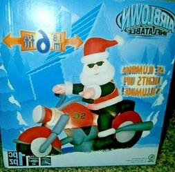 Gemmy Christmas Airblown Inflatable Santa Motorcycle 7ft NEW