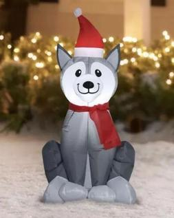 Christmas Airblown Inflatable Yard Decorations Lighted Husky