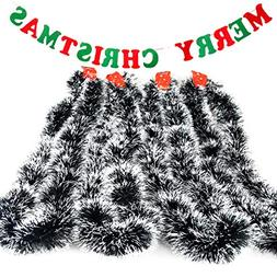 Christmas Banners & Tree Tinsel Green Garland with Snow Whit