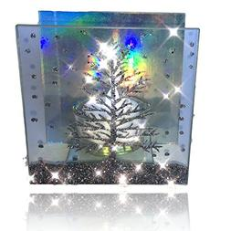Christmas Candle – Glass Candleholder with a Glittery Xmas