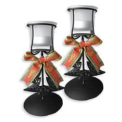 Christmas Candle Holders - Set of 2 Black Wrought Iron Xmas