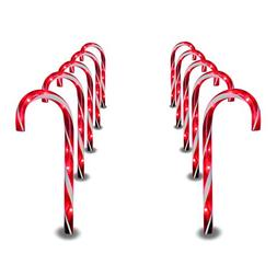 Prextex Christmas Candy Cane Pathway Markers Set of 10 Chris