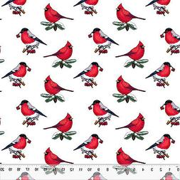 """Christmas Cardinals - Home Decor Fabric Polyester 62"""" W Sold"""