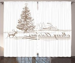 Christmas Curtain White Window Christmas Decorations Deer by