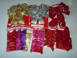 Holiday Time Christmas decor bow, stocking, hat, tinsel garl