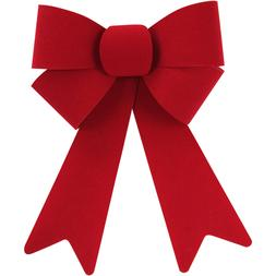 "Holiday Time Christmas Decor Red Velvet Rigid Bow~9.00"" x 13"