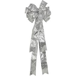 Holiday Time Christmas Decor Silver Striped Tree Topper Bow~