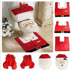 CynKen Christmas decoration Santa toilet Set Seat Cover & Ru