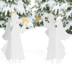 Christmas Decorations Angels Nativity Yard Stakes 4pc Set Ou