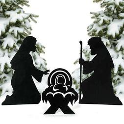 Christmas Decorations Silhouette Nativity Yard Signs 3pc Set
