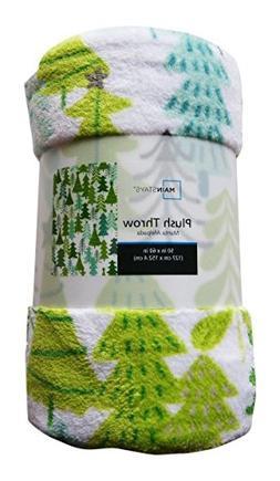 Holiday Time Christmas Evergreen Trees Plush Throw Blanket