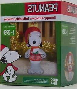 Christmas Gemmy Peanuts 5 ft Light Up Snoopy Holding Bowl Ai