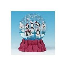 Christmas Greeting Card Pop-Up 3-D Snow Globe Penguins