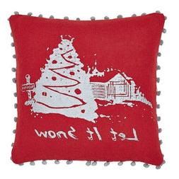 """Christmas Holiday Decoration Red Burlap Pillow """"Let It Snow"""""""