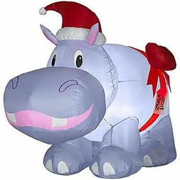 """CHRISTMAS INFLATABLE 2'9"""" PURPLE HIPPO W/ HAT AND BOW OUTDOO"""