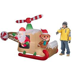 Christmas Inflatable 8' Animated Gingerbread Helicopter w/ S