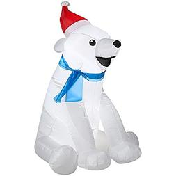 CHRISTMAS INFLATABLE BABY POLAR BEAR WITH SANT HAT & SCARF