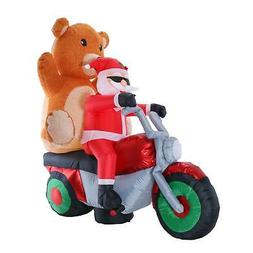 Christmas Inflatable Santa Claus Riding Motorcycle, Teddy Be