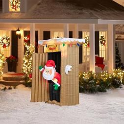 CHRISTMAS INFLATABLE 6 FT TALL ANIMATED LED LIGHTED OUTHOUSE