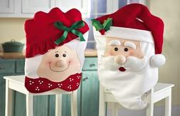 CHRISTMAS KITCHEN CHAIR COVER FEATURING MR AND MRS SANTA CLA