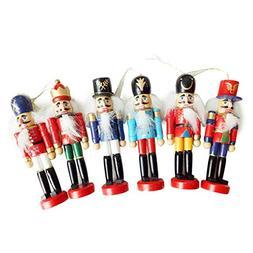 SHZONS Christmas Nutcracker Ornaments Set,Wooden Nutcracker