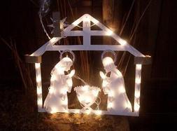 CHRISTMAS OUTDOOR LIGHTED MANGER NATIVITY SET STAR OF BETHLE