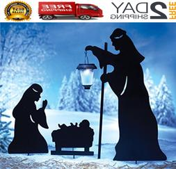 Christmas Outdoor Solar Decoration Nativity Lighted Yard Sta