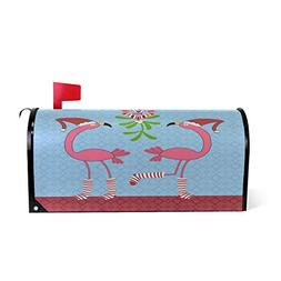 Christmas Pink Flamingos Magnetic Mailbox Cover MailWraps, M