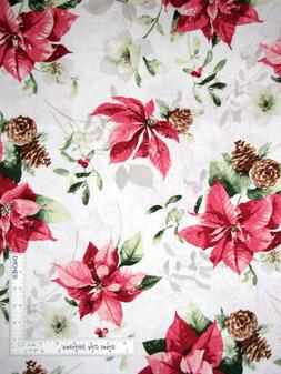 Christmas Poinsettia Flowers Holiday Home Decor Weight Cotto