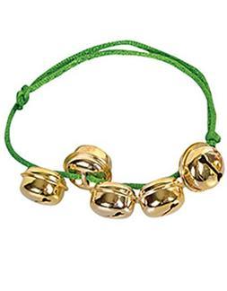 Christmas Santa Claus Green Gold Jingle Bells Bracelet