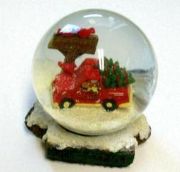 Debbie Mumm Christmas Snow Globe w/ Red Truck Tree Delivery