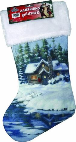 River's Edge Christmas Stocking with Fabric Hanging Loop-Win