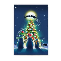 "EVERGREEN  ""CHRISTMAS TREE AND SNOW FAMILY"" DECORATIVE FLAG"