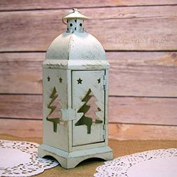 "Fantado 8"" Christmas Tree Rustic White Hurricane Candle Lant"