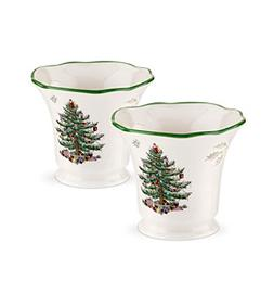 Spode® Christmas Tree Set Of Two Tealight Holders With T
