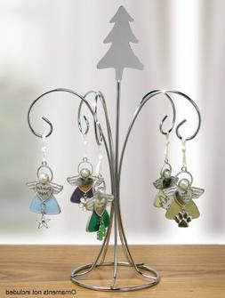 Chrome Metal Wire Christmas Ornament Tree Stand with Tree To