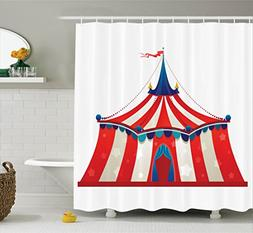 Circus Decor Shower Curtain by Ambesonne, Colorful Striped C